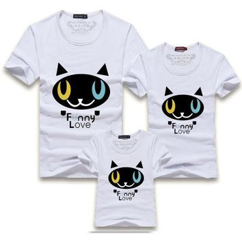 PEAPGB2 2016 New Family Look Cartoon Cat Funny Love Print Mother Daughter Matching Mother Father Baby Matching Family Clothes T shirts