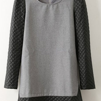 Gray Long Sleeve Spliced Faux Leather Shift Dress