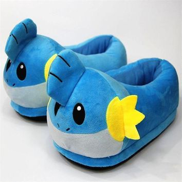 LAISIDANTON New Pokemon Cosplay Plush Slippers Snorlax Mudkip Duck Home Indoor Slipper