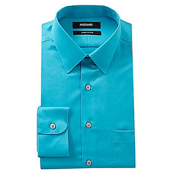 Murano Solid Point-Collar Liquid Cotton Dress Shirt - Pineapple