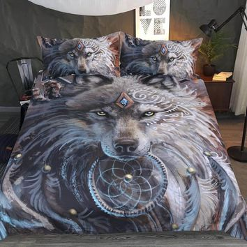 3D Wolf Comforter Bedding Set Duvet Cover Indian Feather Dreamcatcher Printed Bed Set 3pcs Bedclothes Queen King Size Bed Sheets