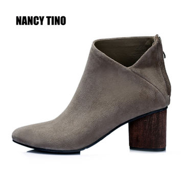 NANCY TINO  2017 New Women Ankle Boots Ladies Sexy Fashion Genuine Leather Short Martin Zip Boots  For All Season Women's Shoes