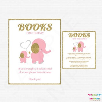 Book Request Baby Shower, Pink and Gold Baby Shower, Elephant Baby Shower, Bring a Book Instead of a Card Insert + Sign Printable EL0004-lpg