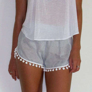 Pom Pom Shorts - Light Grey and White zombie pattern with White Pom Pom Trim - lightweight chiffon