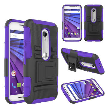 Motorola Moto G (2015) | XT1540 | XT1548 Case, Hybrid Dual Layer Armor[Shock/Impact Resistant] Case Cover with Built-in Kickstand for Motorola Moto G (2015) - Purple