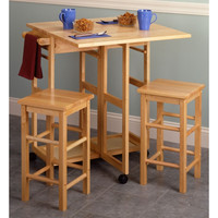 Basics Square Beechwood Breakfast Bar w/ 2 Stools
