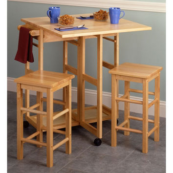 Basics Square Beechwood Breakfast Bar with 2 Stools