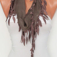 Light Brown Scarf Shawl Headband - Cowl with Lace Edge