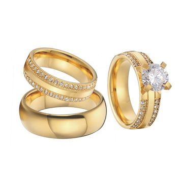 Mens Wedding Band Promise Rings Gold Color anillos anel bague bridal sets jewelry Engagement Rings for women
