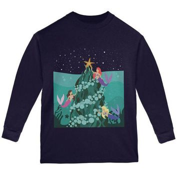 ESBGQ9 Mermaid Christmas Tree Youth Long Sleeve T Shirt