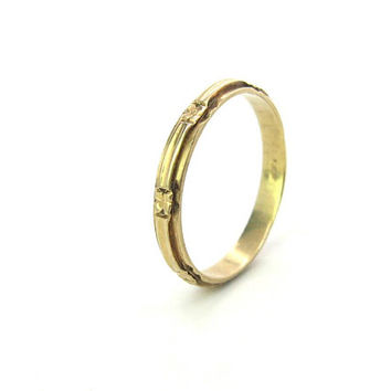 Art Deco Wedding Ring 14K Gold Eternity Anniversary Stacking Band Carved Forget Me Not Flowers Size 11 Vintage 1920s Unisex Jewelry 2.8g