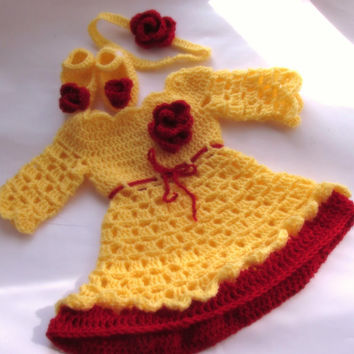 Yellow red baby dress shoes headband set baby clothes long sleeves first outfit take home hospital matinee infant frock newborn dress