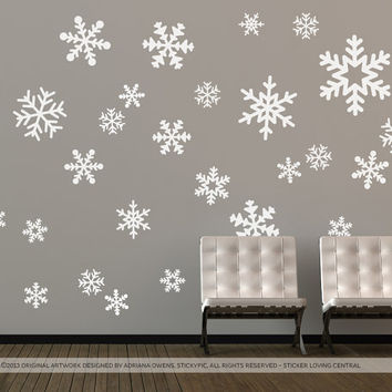 x26 Mixed-size Festive Snowflake Pack (Christmas Holidays Wall Art Decal Removable Matt Vinyl Stickers)