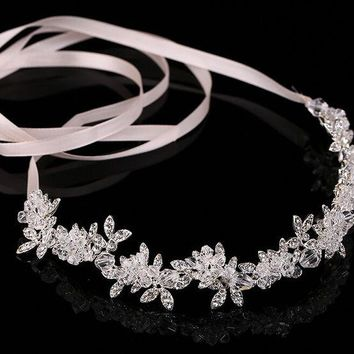 LMFET7 wedding party romantic metal leaf with crystal rhinestone beads flower headband bride  bridal high quality  hair accessories