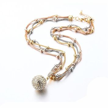 Long Necklace Gold Plated Chain Full Rhinestone Ball Pendant