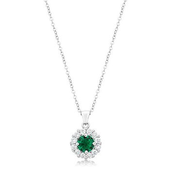 Round Emerald Halo Necklace - Women's Rhodium Plated Brass CZ Necklace