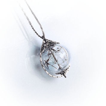 Dandelion necklace, make a wish necklace, glass ball orb globe, eco friendly, nature jewelry