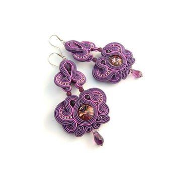 CHRISTMAS SALE 30%, Soutache Earrings, Purple Earrings, Bridal Earrings, Dangle Earrings, Beaded Earrings, Purple Jewellery,