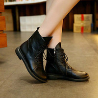 New Fashion Women Boots Ladies Retro Leather Shoes Combat Army Zipper Punk Goth Ankle Shoes Motorcycle Boots for women ,DJ0109