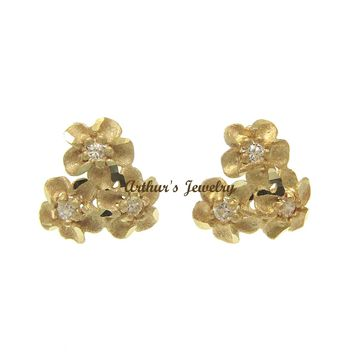 9MM SOLID 14K YELLOW GOLD HAWAIIAN DIAMOND CUT PLUMERIA FLOWER POST EARRINGS