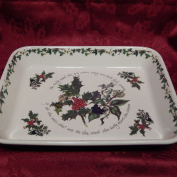 Portmeirion The Holly & The Ivy Lasagna Dish, Ovenware, Bakeware, Cookware, Made in Britain, English China, Christmas Casserole Dish