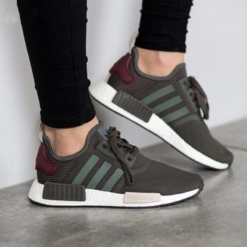 Adidas NMD R1 Boost Women Olive Green Trending Running Sports Shoes Sneakers One-nice™