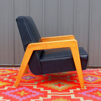 VINTAGE DANISH MODERN Lounge Chair Mid Century Modern Furniture - Navy Blue Leather Solid Wood Frame - Modernism - Minimal - Mid Mod - 1950s