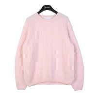 Ribbed Angora Crewneck Sweater