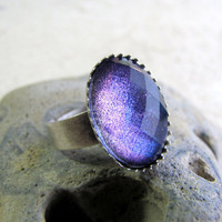 Faceted Quartz Ring Love Spell  Purple Glitter by AshleySpatula