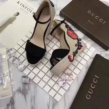 GUCCI Women Trending Casual Shoes Flat Sandal Slipper Slope Heels Black Flower