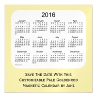 2016 Pale Goldenrod Calendar by Janz 5 x 5 Magnet Magnetic Invitations