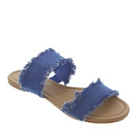 Ada-1 Distressed Denim Slide Sandals