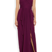 Notte by Marchesa | One-shoulder draped silk-chiffon and silk gown | NET-A-PORTER.COM