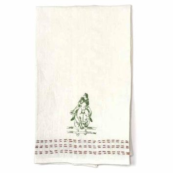 Show Jumping Embroidered Linen Hand Towel