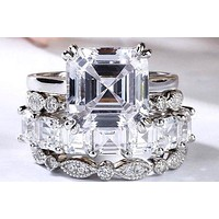 A Perfect 4CT Asscher Cut Russian Lab Diamond Striking Stacking Engagement Set
