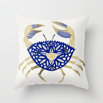 Crab – Navy & Gold Throw Pillow by Cat Coquillette