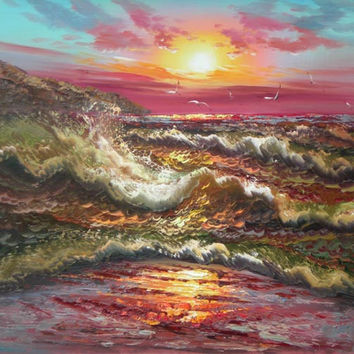 Shoreline Sunrise Oil Painting