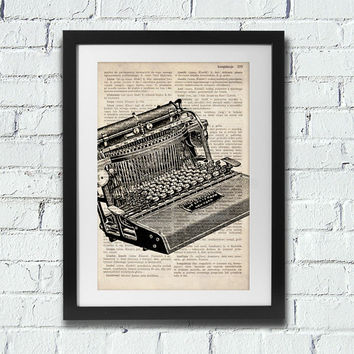 Old typewriter - dictionary art decor. Typewriter print, typewriter art, royal typewriter, type writer, type print, typewriter decor.