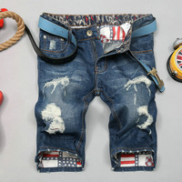 Summer Ripped Holes Pants Slim Denim Jeans [6541763011]