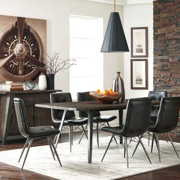 Wooden Dining Table With Metal Base, Dark Rustic Brown and Gray