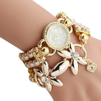 Bracelet Watch Women Ladies Fashion Quartz-watch Female Clock  Flower Imitation Pearl Chain Wrist Watches Quartz HB88