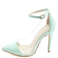Lucite Pointed Cap-Toe Pumps by Charlotte Russe