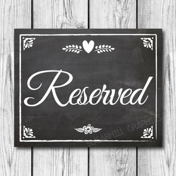 Chalkboard Wedding Sign, Printable Wedding Sign, Chalkboard Wedding Reserved Sign, Wedding Decor, Instant Download