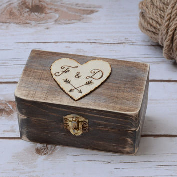 Rustic ring box Wedding Personalized Ring Bearer