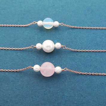 Planet Sandwich, Three, Beads, Pearl/ Rose quartz/ Moonstone, Gold, Silver, Rose gold, Necklace, Birthday, Best friends, Gift, Jewelry