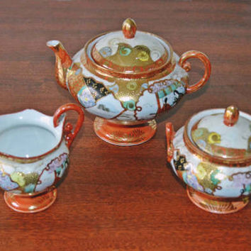 Antique Japanese Satsuma Moriage Teapot, Creamer, And Sugar Dish, Japanese Tea Set