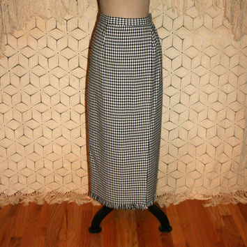 Winter Skirt Straight Maxi Long Pencil Skirt Medium Houndstooth Black White Fringe Skirt Vintage Skirt Womens Skirts Size 8 Vintage Clothing