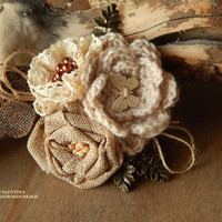 Beautiful Antique Handmade Brooch.Yarn Knitted Boho Brooch.Shabby Chic