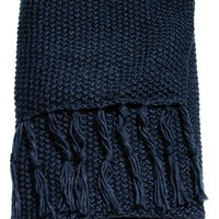 Moss-knit blanket - Dark blue - Home All | H&M GB
