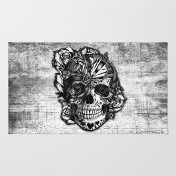 Sugar And E Grunge Candy Skull Area Throw Rug By Kristy P
